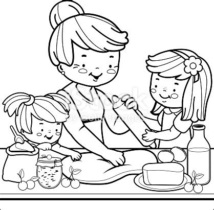 position coloring book pdf grandmother and children cooking in the kitchen coloring