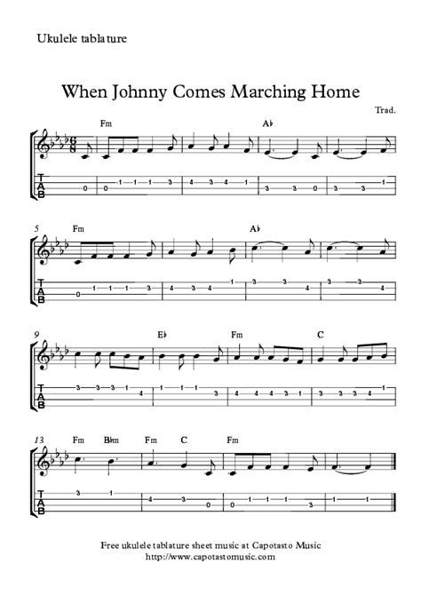 when johnny comes marching home again ukulele songs
