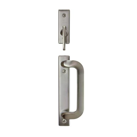 andersen patio door handle andersen anvers 2 panel gliding patio door hardware set in satin nickel 2565541 the home depot