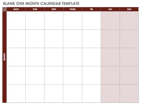 blank one month calendar template 15 free monthly calendar templates smartsheet