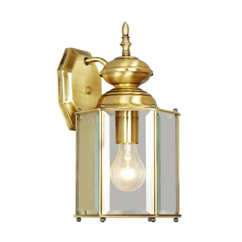 Brass Landscape Lighting Shop Livex Lighting Outdoor Basics 13 In H Antique Brass Outdoor Wall Light At Lowes