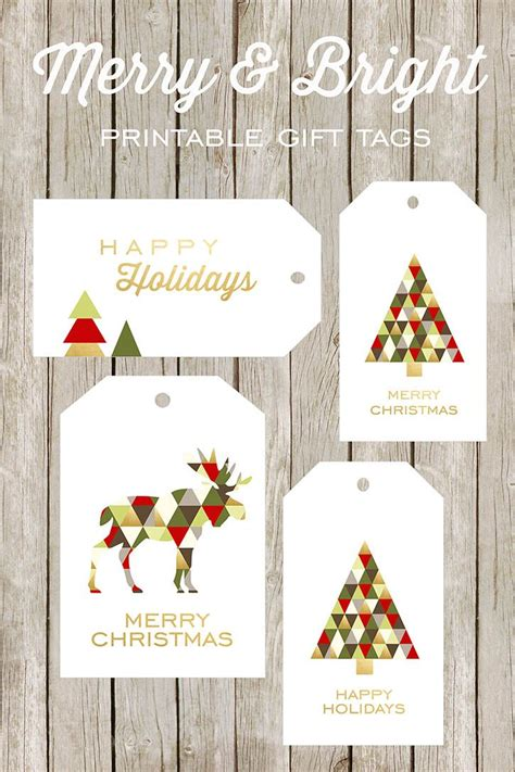 merry  bright printable gift tags moose  printable  bright