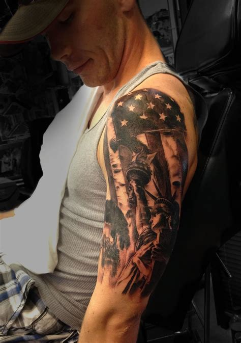 american sleeve tattoo american flag liberty half sleeve done by angela