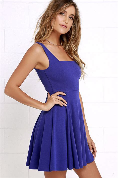 Blue Sweet Soft S M L Xl Dress 30396 lovely royal blue dress skater dress knit dress fit