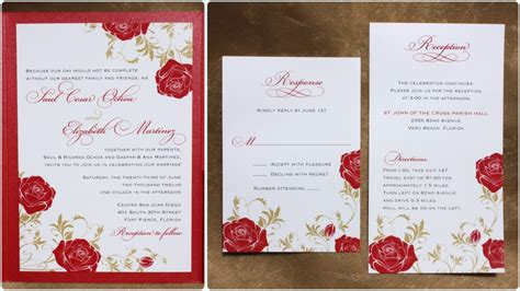 wedding invitation design red red rose gold leaves and vines pocketfold wedding