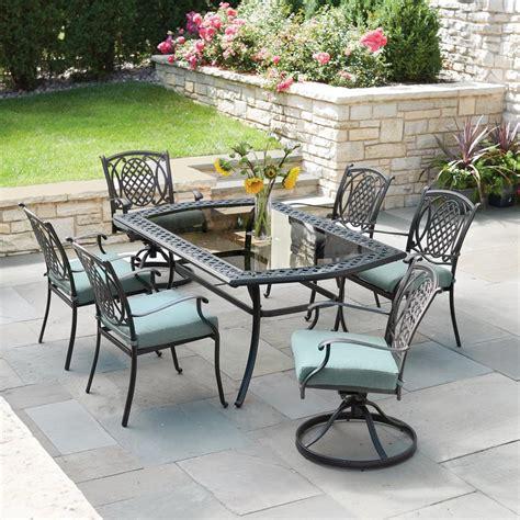 hampton bay belcourt  piece metal outdoor dining set  spa cushions dg pc  home depot