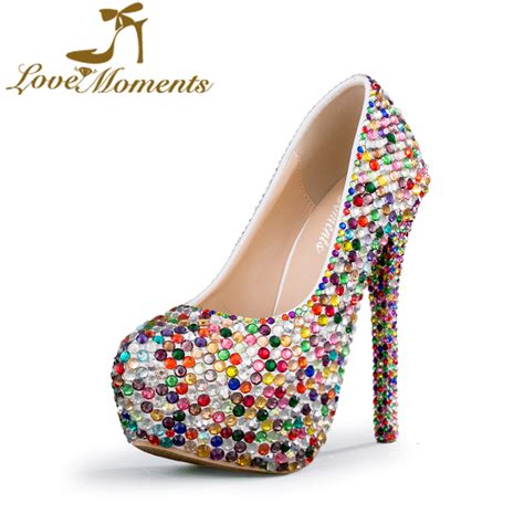 multicolor high heels moments shoes glitter multicolor