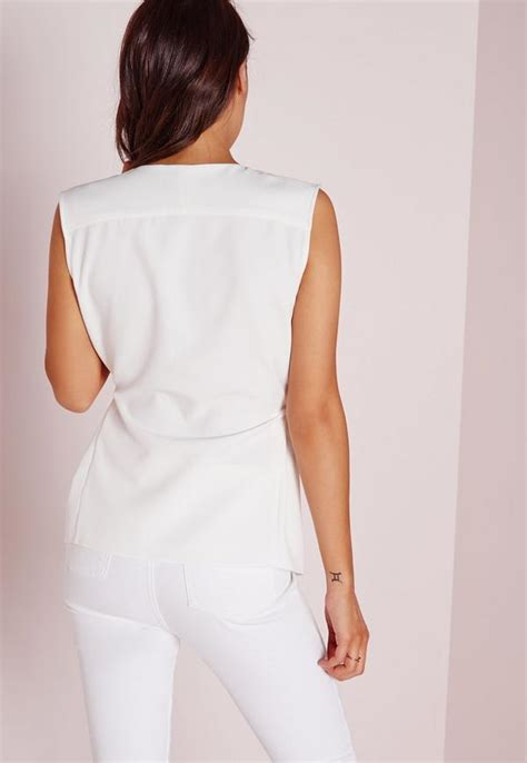 White Wrap Blouse With Tie by Tie Wrap Blouse White Missguided