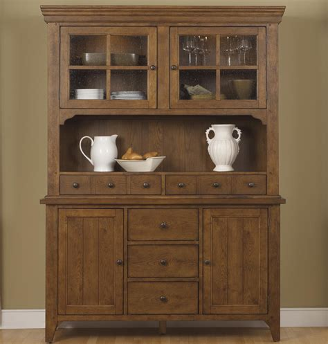 Liberty Furniture Hearthstone Mission Style Buffet with China Hutch   Wayside Furniture   China