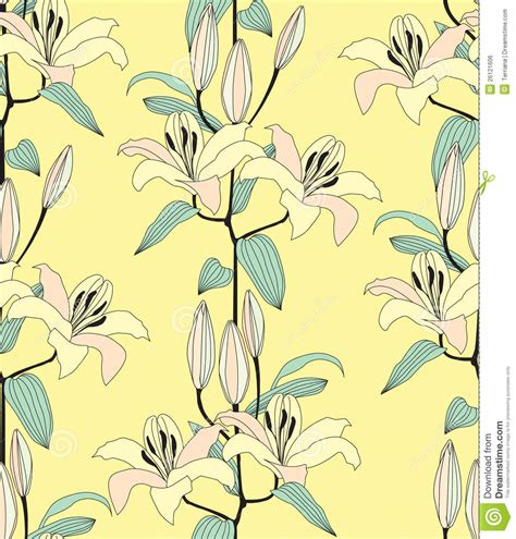 yellow lily pattern seamless pattern with yellow flower royalty free stock