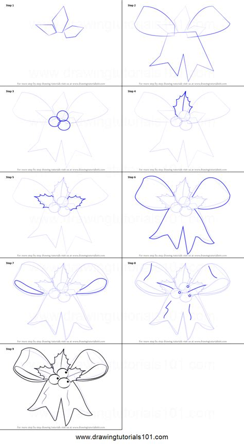 christmas pictures step by step how to draw ribbon printable step by step drawing sheet drawingtutorials101