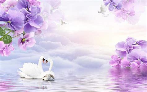 3d flower wallpaper Dream purple flowers TV backdrop 3d