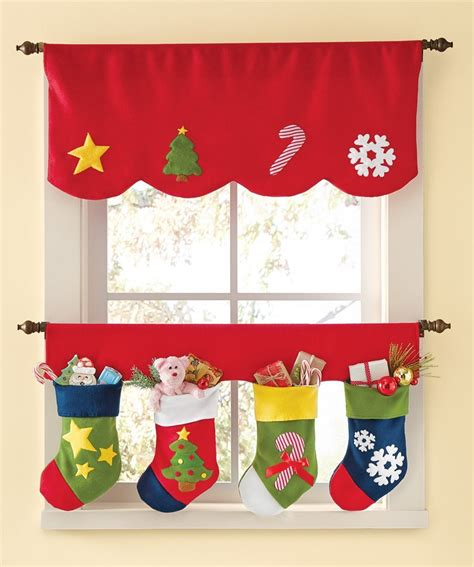 curtains for christmas red christmas stocking window curtains