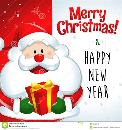 merry christmas happy new year santa claus gift stock