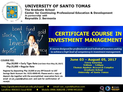 Of Santo Tomas Mba Program by Ccped General Information Ust Graduate School