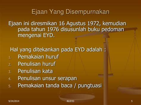 Intisari Eyd Ejaan Yang Disempurnakan ppt eyd dan tanda baca powerpoint presentation id 4767059