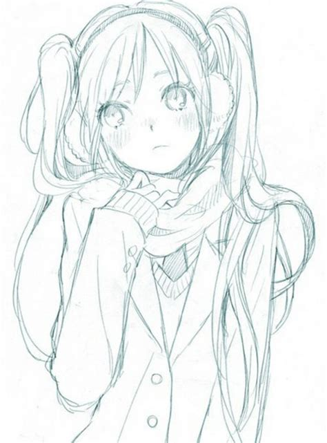 doodle draw anime anime coat scarf earmuffs cold