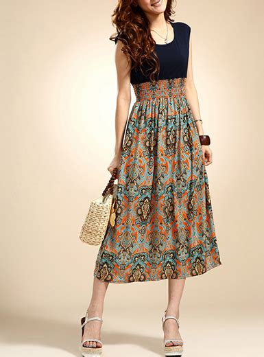 Midi Dress Bohemian Ferani midi dress black bodice multicolored print skirt bohemian vintage style empire waist