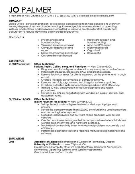 office resume exles best office technician resume exle livecareer