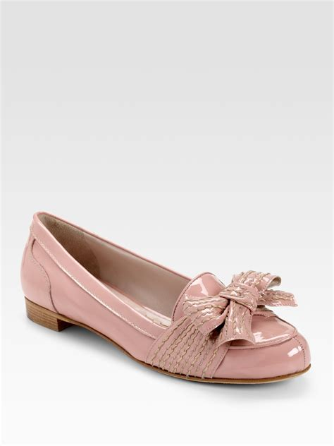 pink leather loafers miu miu patent leather loafers in pink lyst