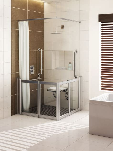 Shower Enclosure With Seat by Chrome Effect Is New Metallic Finish For Grab Rails And