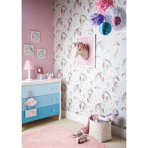 Wide Shower Bath arthouse rainbow unicorn wallpaper white decorating b amp m