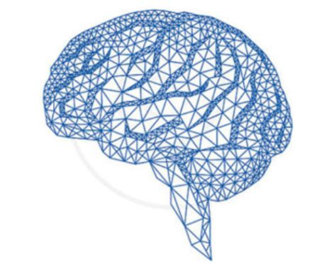 brain pattern drawing blue human brain with abstract geometric pattern digital