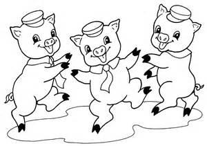 desenho de tr s porquinhos felizes para colorir
