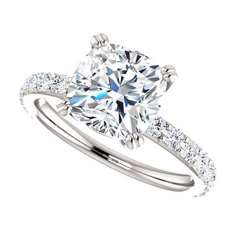 engagement rings cushion cut 2 carat 2 5 carat cushion cut forever brilliant moissanite