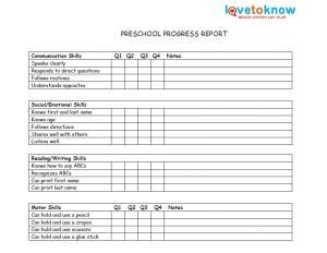 printable kindergarten report card best photos of printable progress report cards preschool
