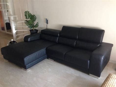 Sofa For Sale In Singapore by All Leather Casa Italy Black L Shaped 3 Seater Sofa For