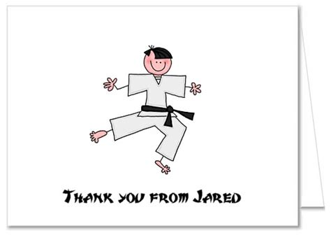 thank you letter to karate karate thank you note cards personalized