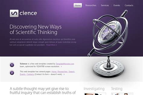 Free Science Html5 Website Template Monsterpost Free Science Website Templates
