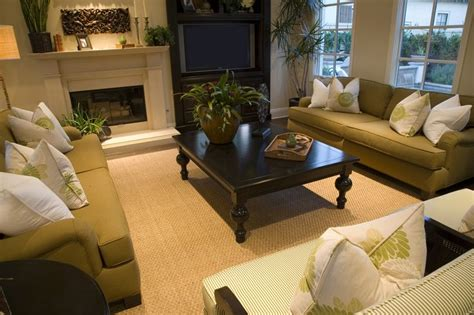 spacious living room in green white and brown color