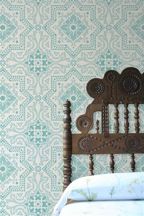 headboard stencils lisboa tile stencil wallpaper headboard beautiful and