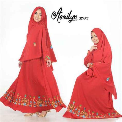 Gamis Nafah4 Merah Syar I baju gamis aerlyn syar i crepe bordir busana muslim polos