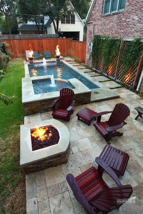 patio ideas for small spaces narrow pool with hot tub firepit great for small