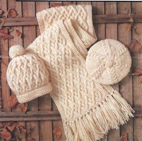 knitting pattern for child s scarf uk knitting pattern ladies gents childs aran scarf beret