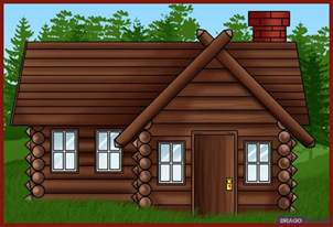 how to draw a log cabin house step by step buildings