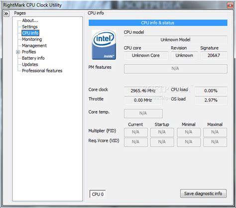 Cpu Info by Rightmark Cpu Clock Utility