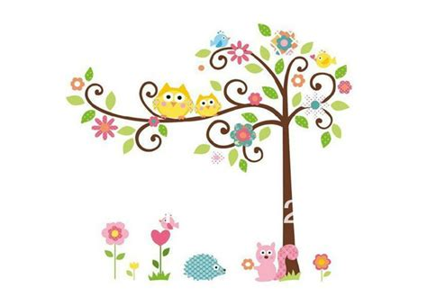 peel and stick wall decor brand decal 120 110cm cute owl tree peel stick wall