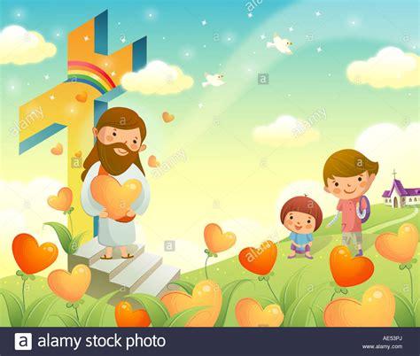imagenes de jesucristo infantiles jesus christ holding a heart shape flower and standing