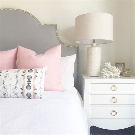 light pink bed pillows gray headboard with pink pillows contemporary bedroom