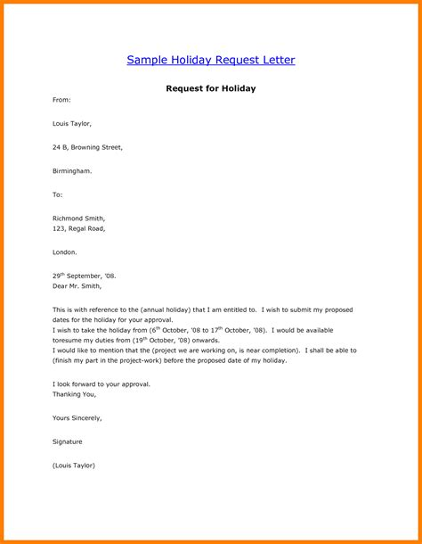 Request Letter Sle For Vacation Leave how to write a letter requesting for annual leave cover