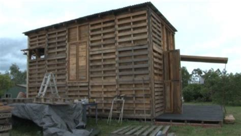 pallet houses pictures student builds recycled pallet tiny house