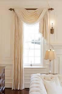 Swag Curtains For Bedroom Designs Asymmetrical Pole Swag Is Nicely Proportioned Custom Draperies For All Locations