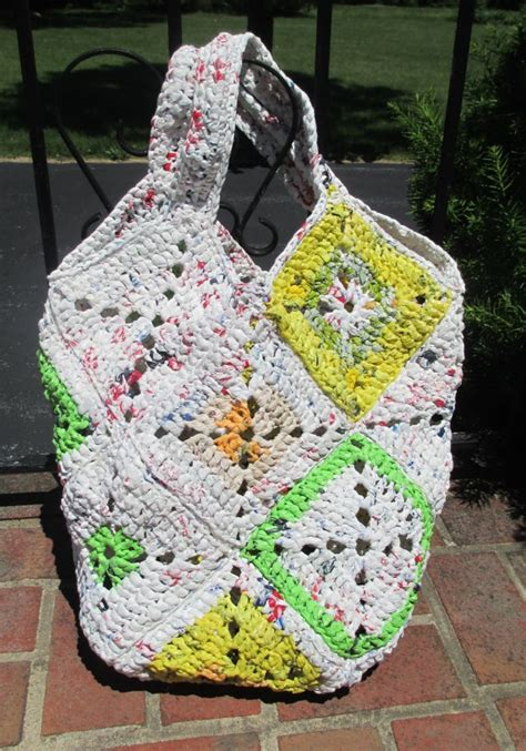crochet pattern plastic bag tote giant crocheted plarn tote beach bag purse multi by