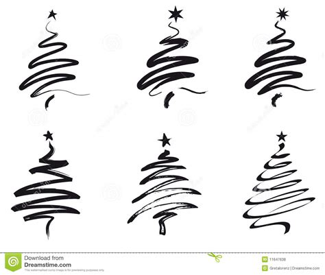 christmas trees line illustration royalty free stock