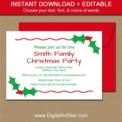 christmas invitation templates free editable editable invitation by digitalartstar