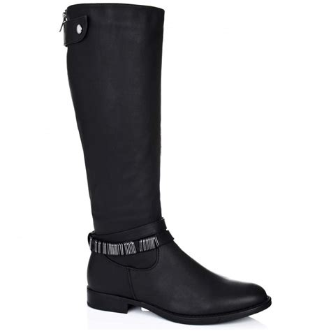 buy romper flat knee high boots black leather style